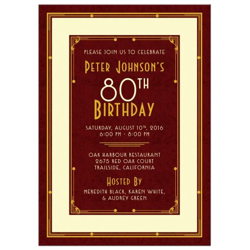 ​​Elegant maroon, gold, and ivory art deco man's 80th birthday invitation front
