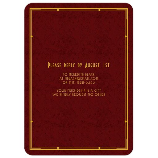 Elegant maroon, gold, and ivory art deco man's 80th birthday invitation back