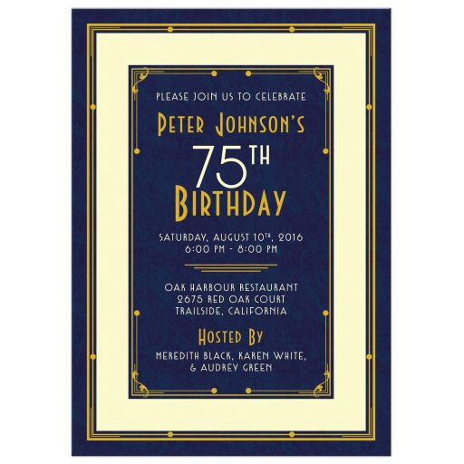 Elegant navy blue, gold, and ivory art deco man's 75th birthday invitation front