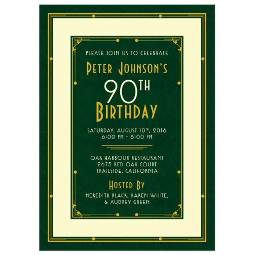 Elegant forest green, gold, and ivory art deco man's 90th birthday invitation front