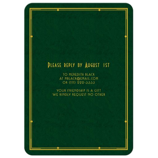 Elegant forest green, gold, and ivory art deco man's 90th birthday invitation back