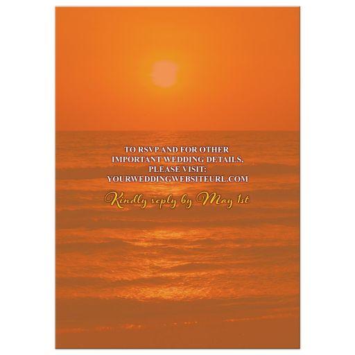 Hibiscus and frangipani beautiful sunset beach tropical destination wedding invitation back