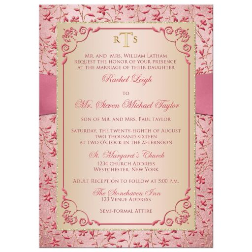 ​Best blush pink, dusty rose gold floral wedding invitation with joined jewel and glitter hearts buckle, ribbon and ornate scroll.