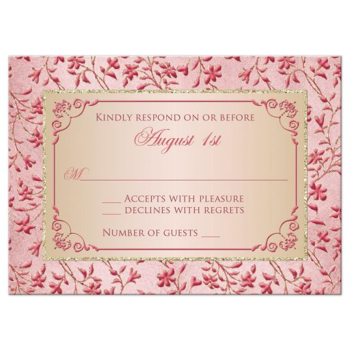 Great blush pink, dusty rose, champagne, and gold floral wedding RSVP card with joined jewel and glitter hearts buckle, ribbon and ornate scroll.