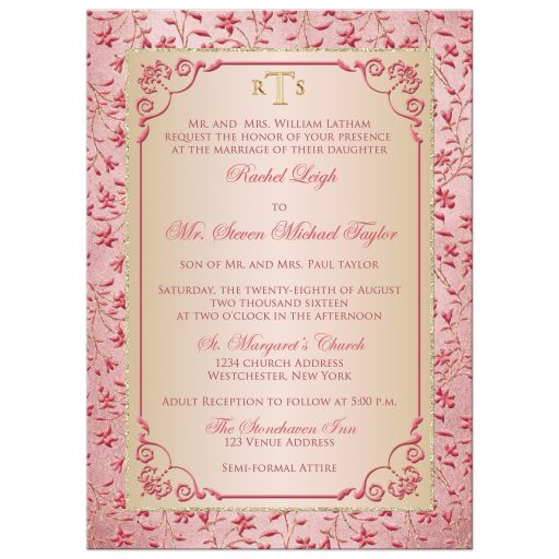 Great monogrammed blush pink, dusty rose, champagne, and gold floral wedding invite with glitter and ornate scroll.