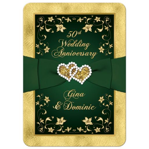 Great green and gold floral 50th wedding anniversary invitation with ribbon, joined hearts, glitter, and gold foil.