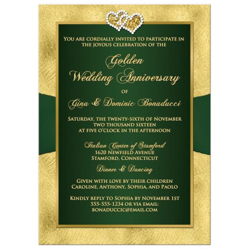 Best green and gold floral 50th wedding anniversary invites with bow, joined hearts, glitter, and gold foil.