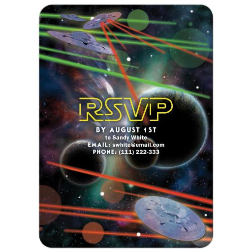 Star or space war movie or video game Bar Mitzvah invitation back