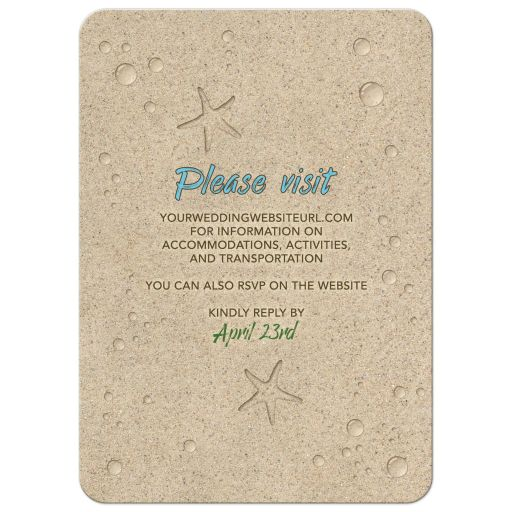 Retro palm tree and sand beach wedding invitations or destination wedding invitation back