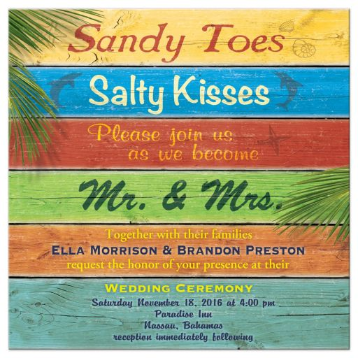 Sandy Toes Salty Kisses Tropical Wedding Invitation
