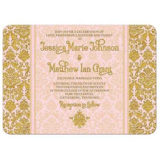 Gold And Blush Wedding Invitations: Blush Pink Gold Damask Photo Wedding Invitation