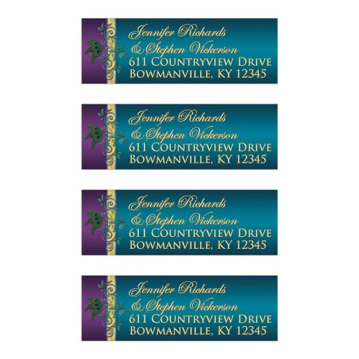 Great custom purple, teal blue and gold foil peacock feather wedding return address mailing labels with ornate scrolls and flourish.