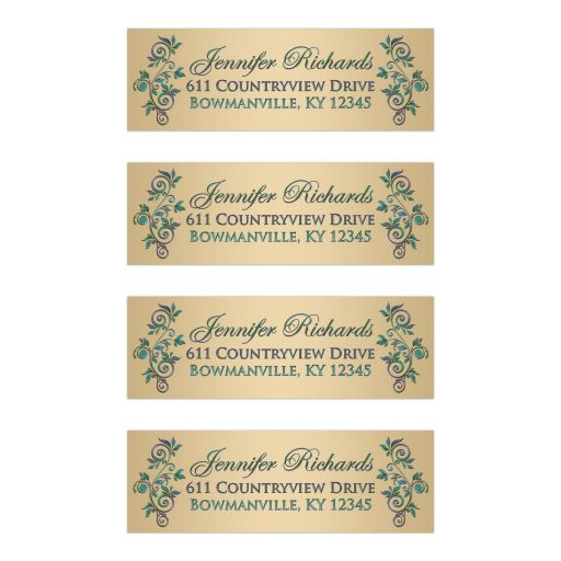 Great customizable purple, teal blue and gold wedding return address mailing labels with flourishes.