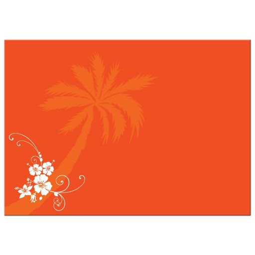 Best purple, orange and white tropical beach theme wedding reception only invites with scallop sea shells, butterflies, hibiscus flowers, starfish and palm trees.