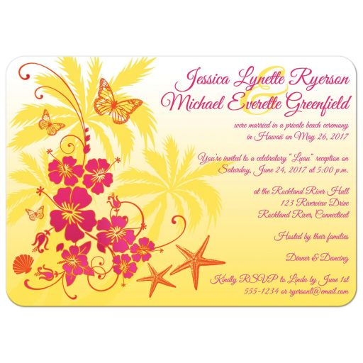 Great yellow, fuchsia pink, orange, and white tropical beach theme wedding invitations with scallop sea shells, butterflies, hibiscus flowers, starfish and palm trees.