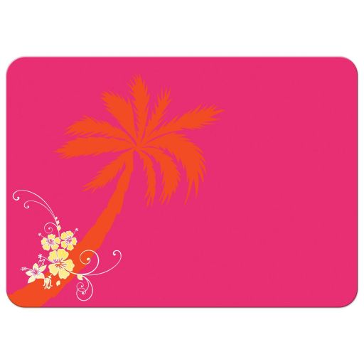​Best yellow, hot pink, orange, and white tropical beach theme wedding invites with scallop sea shells, butterflies, hibiscus flowers, starfish and palm trees.