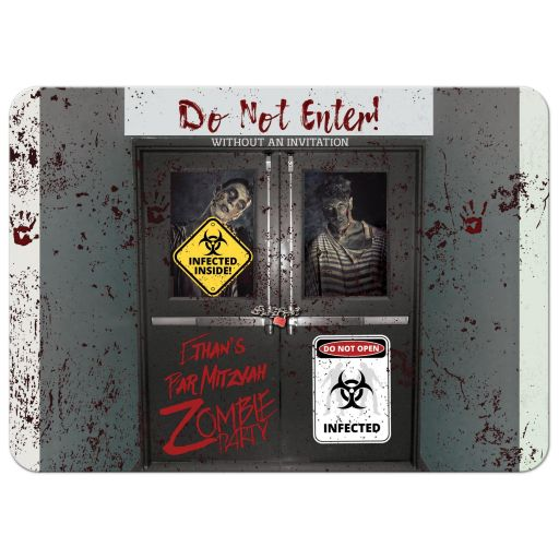 Best scary zombie theme party Bar Mitzvah invitations with zombies, blood and gore.
