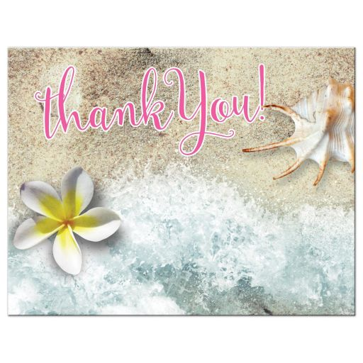 By the Beach Thank You Postcard | Frangipani Seashell