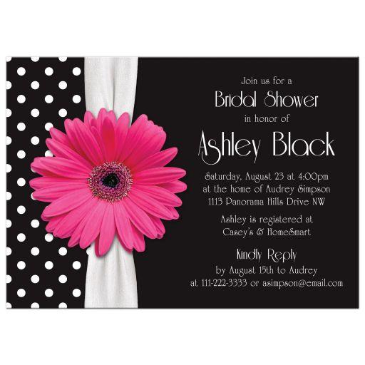 Retro and chic black and white polka dot, pink gerbera daisy bridal shower invitation