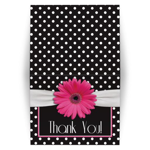 ​Retro and chic black and white polka dot, pink gerbera daisy folded thank you card
