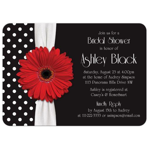 Retro and chic black and white polka dot, red gerbera daisy bridal shower invitation