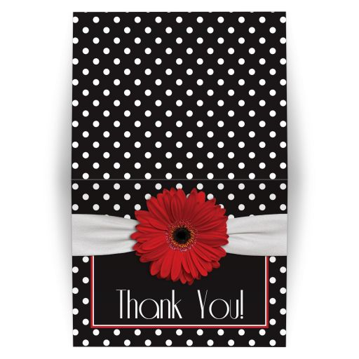 Retro and chic black and white polka dot, red gerbera daisy folded thank you card