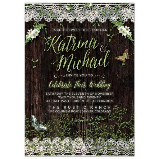 Woodsy Rustic Lace Greenery Wedding Invitation