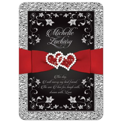 Romantic black and silver wedding invitation with red love hearts