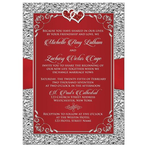 Black, red and gray wedding invitation with jewel hearts