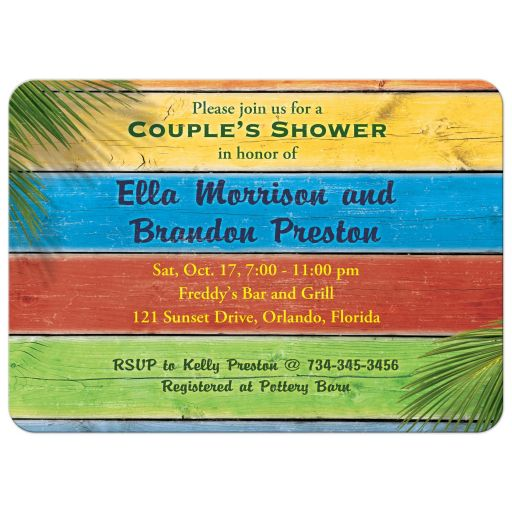 Colorful Sandy Toes Salty Kisses Couple's Shower