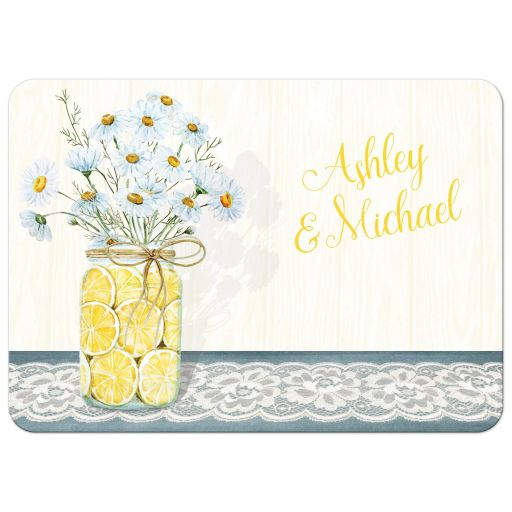 Yellow, blue, white daisies, lace, denim, lemons, wood grain and mason jar rustic shabby chic floral wedding invitations.