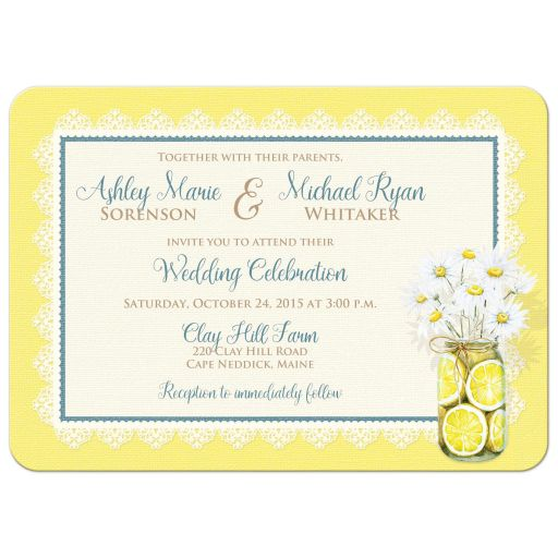 Great yellow, blue, white daisy flowers, lace, denim, lemons, wood grain and mason jar rustic shabby chic wedding invites