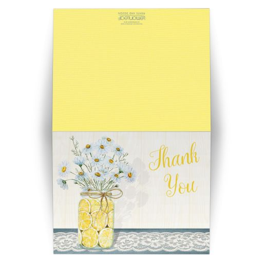 Great yellow, blue, white daisies, lace, denim, lemons, wood grain and mason jar thank you cards.