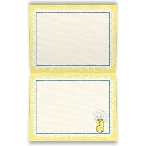 Yellow, blue, white daisies, lace, denim, lemons, wood grain and mason jar rustic shabby chic wedding thank you cards.