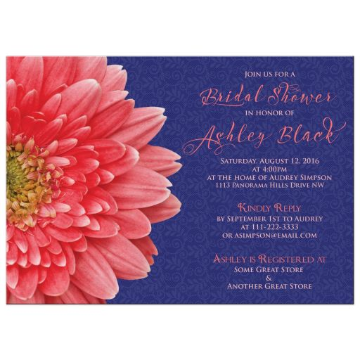 ​Coral gerbera daisy and navy blue lace bridal shower invitation front
