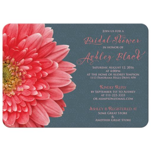 Coral gerbera daisy and charcoal gray lace bridal shower invitation front