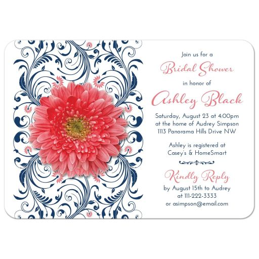 Coral gerbera daisy and navy blue floral bridal shower invitation front