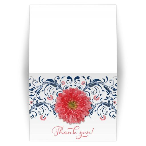 coral gerbera daisy bridal shower invitation, coral gerber daisy bridal shower invitation, coral and navy daisy wedding shower invite, coral and blue wedding shower invite, coral daisy navy bridal shower invite, daisy navy and coral bridal shower invitation, daisy floral bridal shower invitation