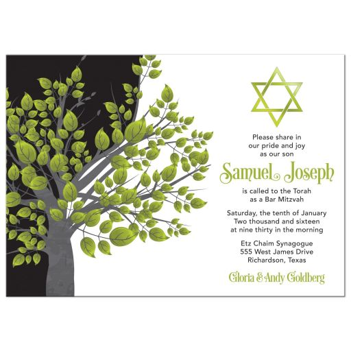 Green, black and gray Tree of Life Star of David Bar Mitzvah invitation