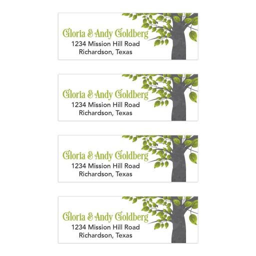 Green, black and gray Tree of Life Bar Mitzvah return address mailing labels
