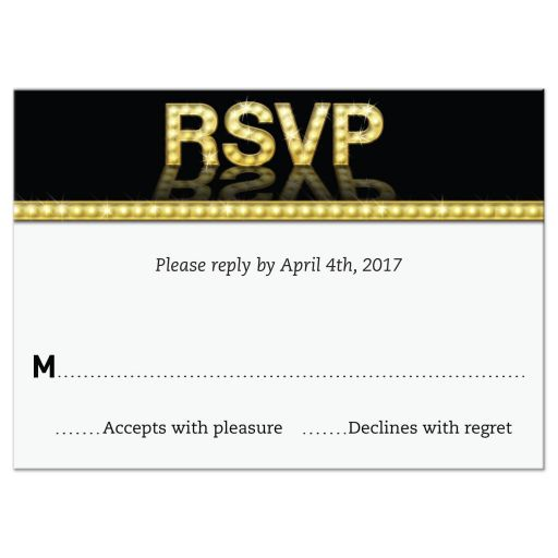 Marquee Lights Theatre Bat Mitzvah RSVP Reply Card