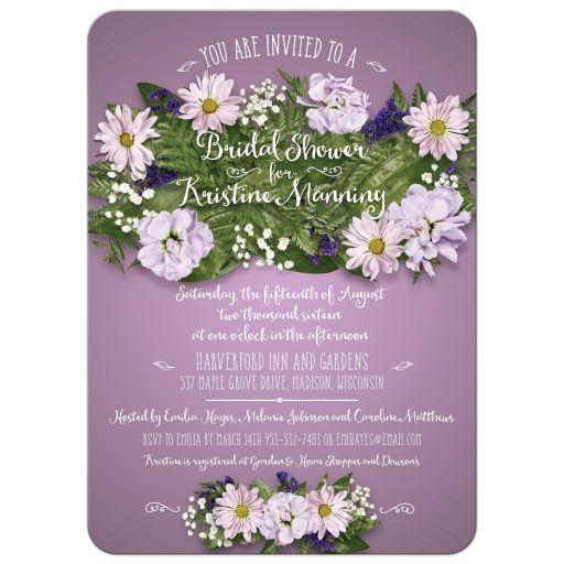 Floral Bouquet on Purple Bridal Wedding Shower Invitation