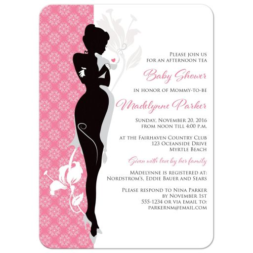 Great modern pink, black, white and grey damask pattern baby shower invites with silhouette of a pregnant woman in high heels, sipping tea from a tea cup.