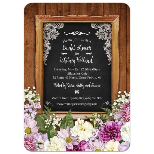 Rustic Spring Floral Bridal Wedding Shower Invitation