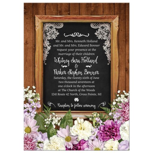 wedding invitations rustic spring chalkboard picture frame floral