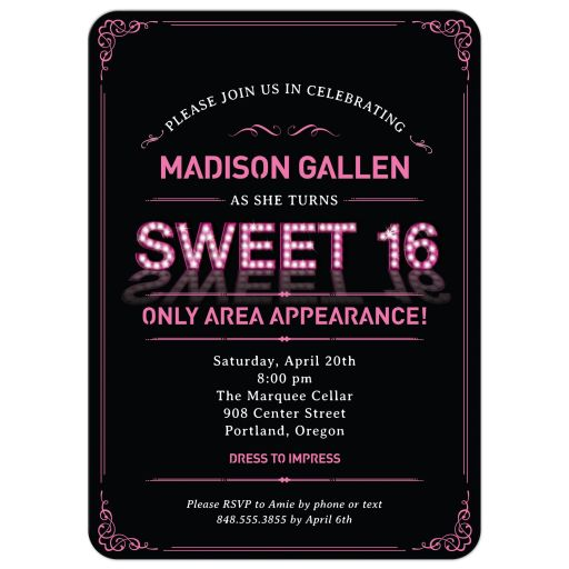 Pink Marquee Lights Sweet 16 Party Invitation