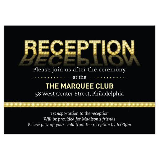 Marquee Lights Theatre Bar Bat Mitzvah Reception Invitation