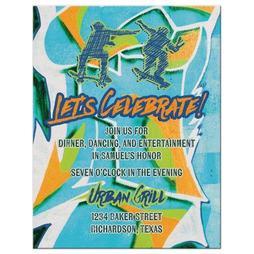 Urban grunge graffiti skateboarder Bar Mitzvah reception card