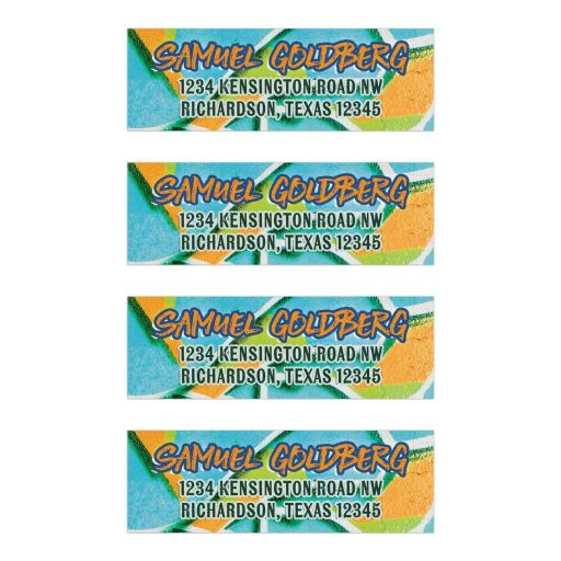 Urban grunge orange, blue, and green graffiti Bar Mitzvah address mailing labels