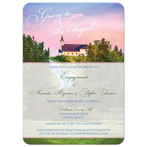 Great white chapel on a hill engagement, shower invitations.